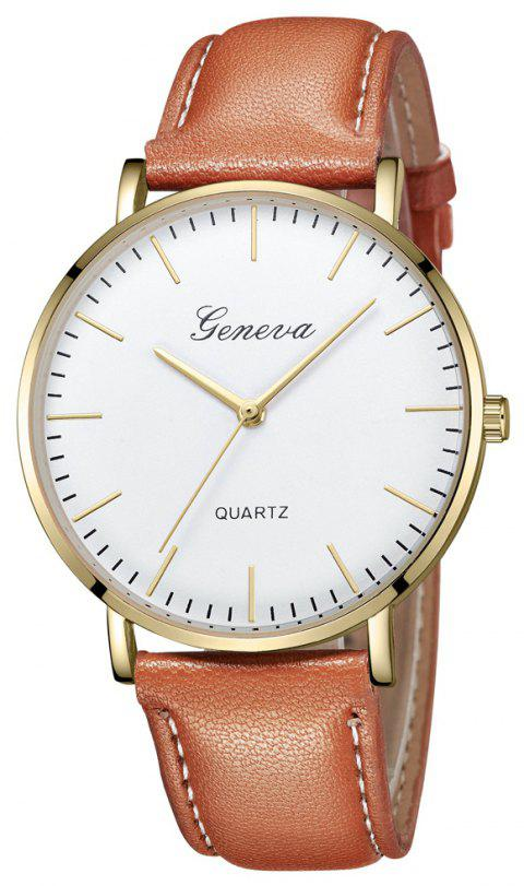 Men Ultra-Thin Belt Fashion Casual Quartz Watch - multicolor E