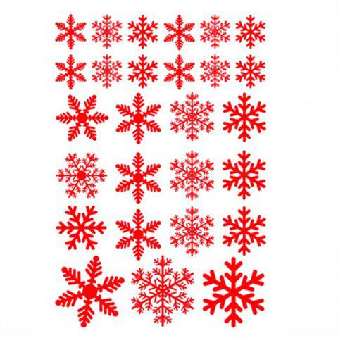 Snowflake Window Clings Decals Christmas Glass static Stickers - RED
