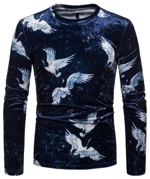 Men's Fashion Chinese Style Color Matching Casual Long-sleeved T-shirt - CADETBLUE XL