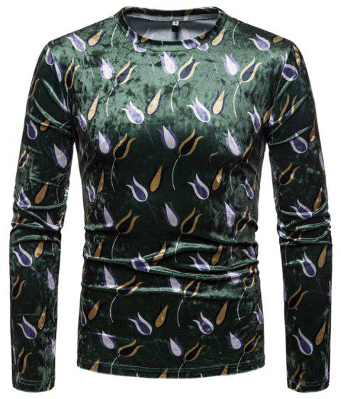 Men's Trend Color Print Casual Slim Round Neck Long Sleeve T-shirt - DEEP GREEN S