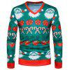 Men's Christmas Print Youth Casual Slim V-neck Long Sleeve T-shirt - MEDIUM SEA GREEN L