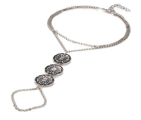 Bohemia Wind Fashion Vintage Pattern Lady's Continuous Finger Ankle Chain - SILVER
