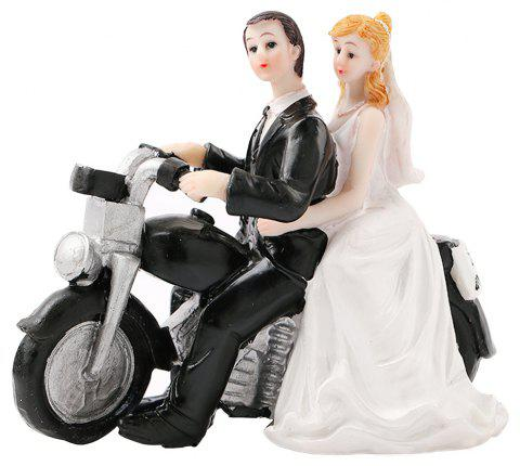 Motorcycle Groom Bride Cake Ornaments Decoration - WHITE