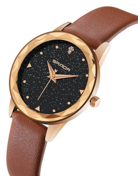 SANDA P229 Elegant Atmosphere Female Personality Fashion Starry Face Watch - BROWN