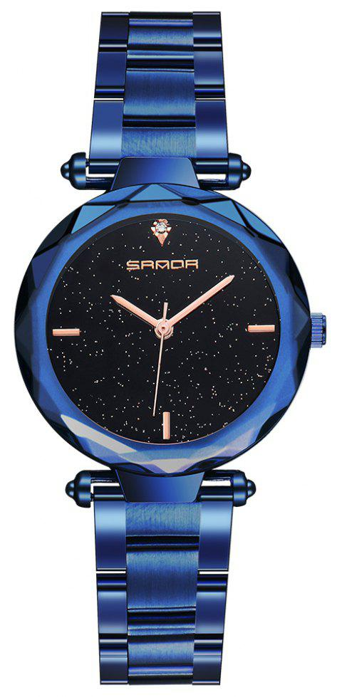 SANDA Fashion Steel Belt Star Quartz Ladies Watch - BLUE