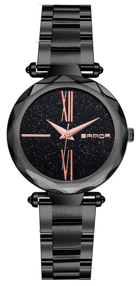 SANDA  Starry Steel Strip  Quartz Ladies Watch - BLACK