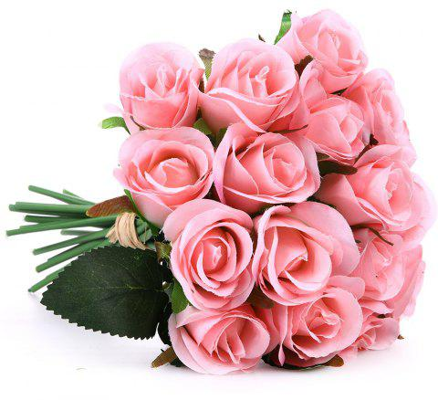 Small Rose Wedding Bouquet Home Decoration Branch of Artificial Flowers - LIGHT PINK