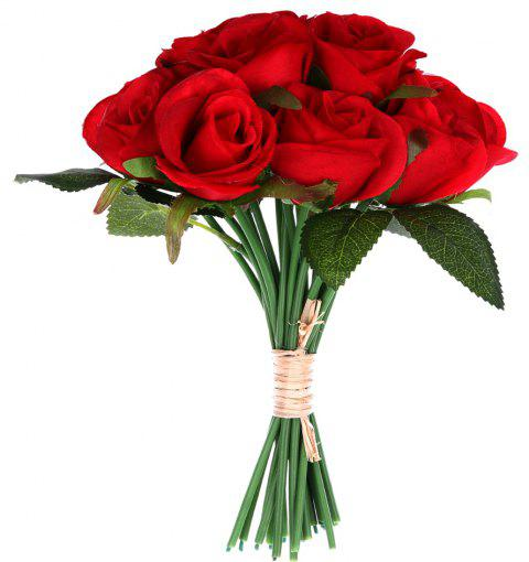 Wedding Gift 16 Heads Silk Rose Home Decoration Artificial Flower - RED