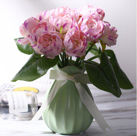 11 Heads Peony Wedding Home Decoration Branch of Artificial Flowers - multicolor