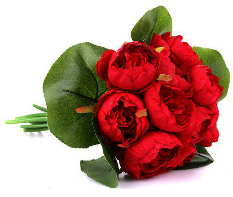 11 Heads Silk Peony Home Wedding Gift Decoration Artificial Flower - RED