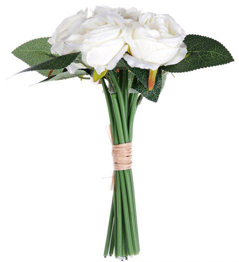 White Rose 6 Heads Home Decoration Branch of Artificial Flowers - MILK WHITE