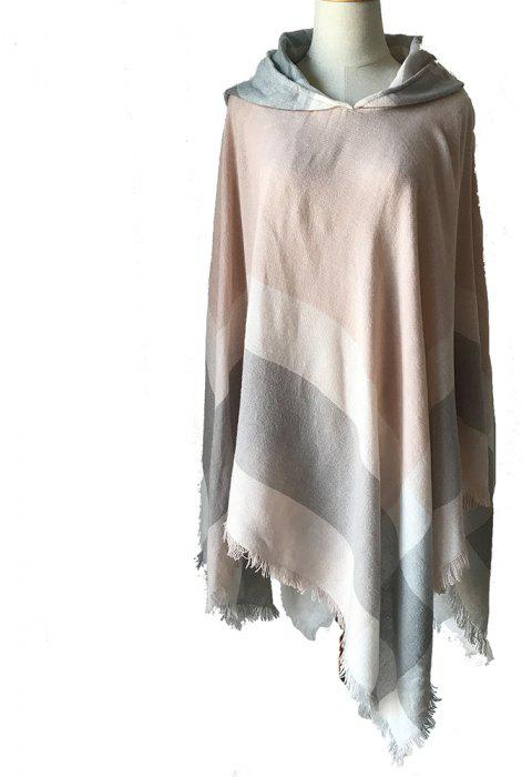 Lady'S Cloak with Hat in Autumn and Winter - LIPSTICK PINK
