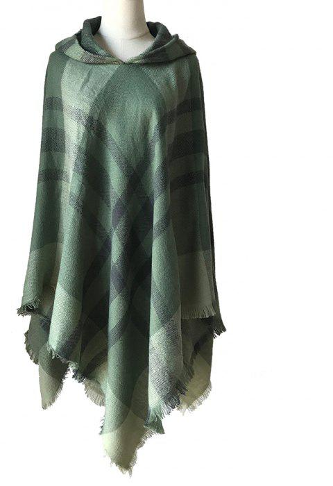 Lady'S Cloak with Hat in Autumn and Winter - DARK GREEN