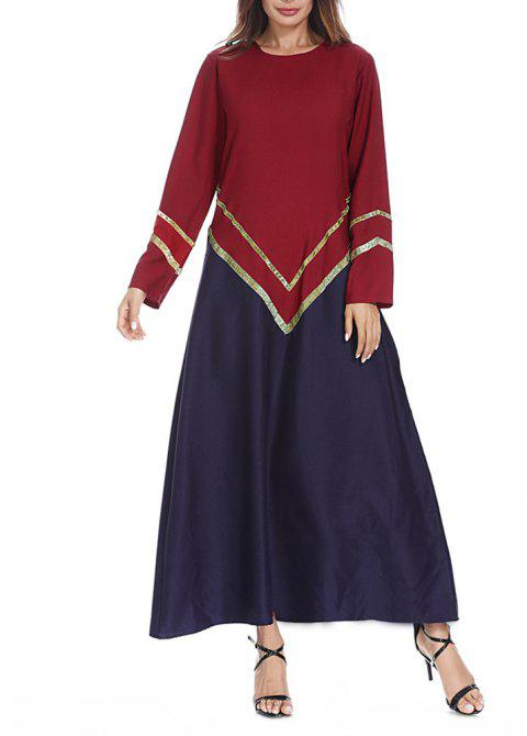 Big Code Fashion Loose Fitting Gold Strip Dress  Gown Dress - CHERRY RED 2XL