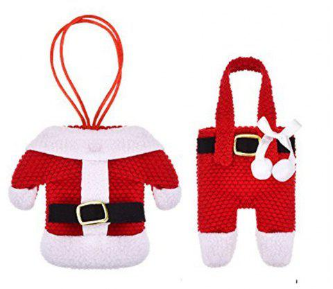 Santa Costume De Noël Argenterie Holder Pockets Rouge 2PCS - Rouge