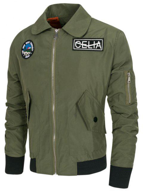Men's  Letter Print Large Size Jacket - ARMY GREEN M