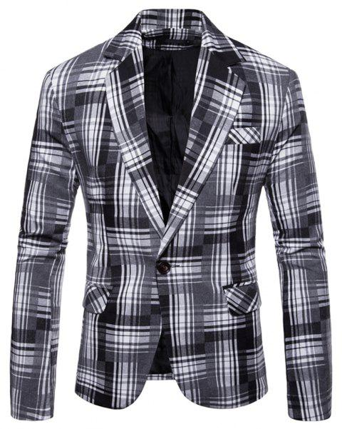 Men's  Plaid Camouflage Casual Fashion Suit - BLACK L