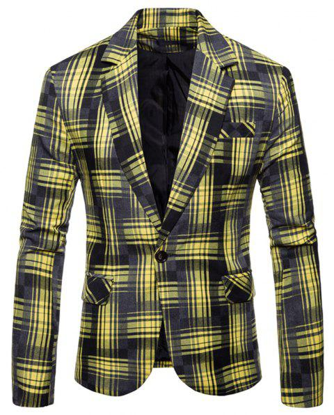 Men's  Plaid Camouflage Casual Fashion Suit - YELLOW 3XL