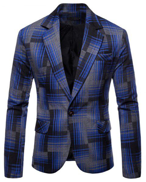 Men's  Plaid Camouflage Casual Fashion Suit - BLUE L