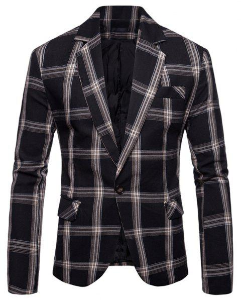 Men's  Casual Plaid Fashion Suit - BLACK L