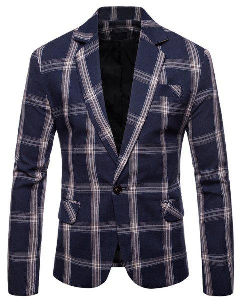 Men's  Casual Plaid Fashion Suit - CADETBLUE 2XL
