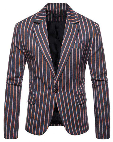 Men's  Casual Fashion Wild Color Striped Small Suit - multicolor A M