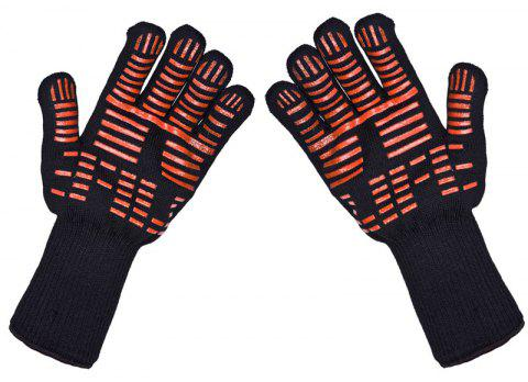 BBQ Grilling Cooking Gloves Extreme Heat Resistant - BLACK