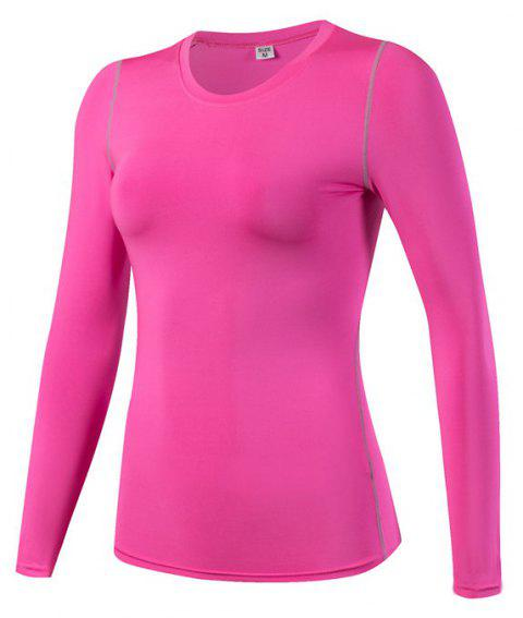 Women's PRO Skinny Training Sports Fitness Perspiration Long Sleeve Yoga T-shirt - ROSE RED XL