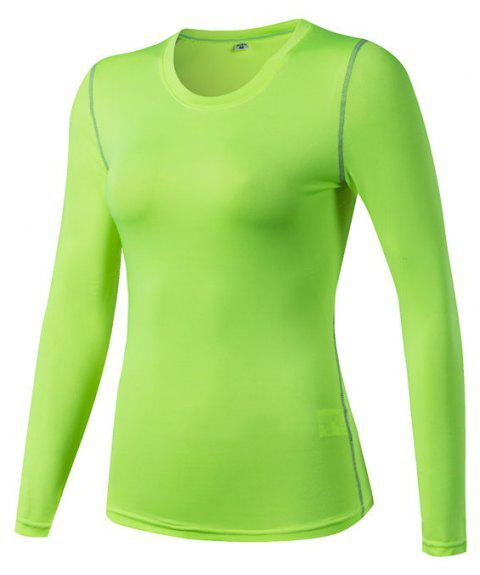 Women's PRO Skinny Training Sports Fitness Perspiration Long Sleeve Yoga T-shirt - GREEN XL