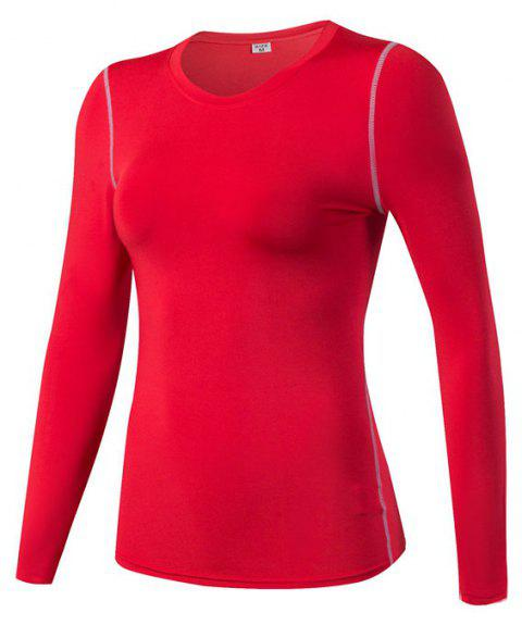 Women's PRO Skinny Training Sports Fitness Perspiration Long Sleeve Yoga T-shirt - RED S