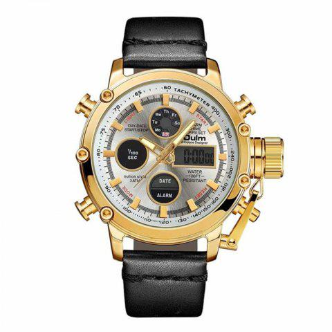 Oulm Dual Display Analog Digital Quartz Men Top Brand Luxury Gold Sports Watches - multicolor A