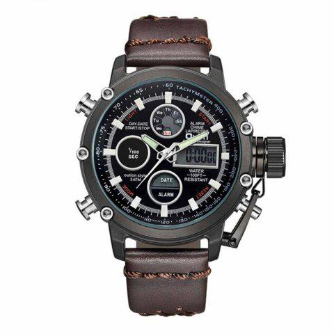 Oulm Dual Display Analog Digital Quartz Men Top Brand Luxury Gold Sports Watches - multicolor F