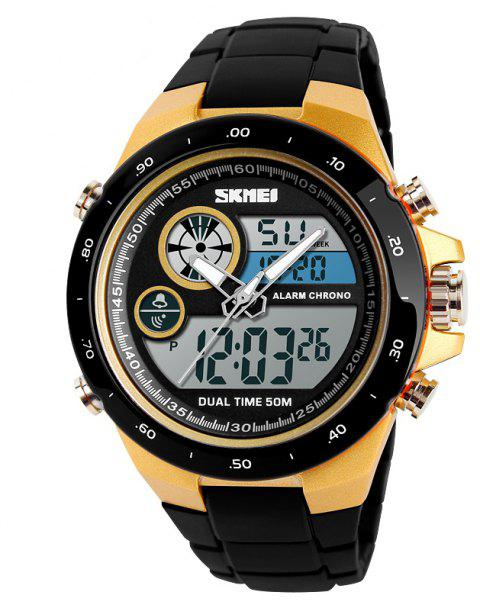 Men Movement Trend Outdoor Multi Function Dual Timing Stopwatch Electronic Watch - GOLD