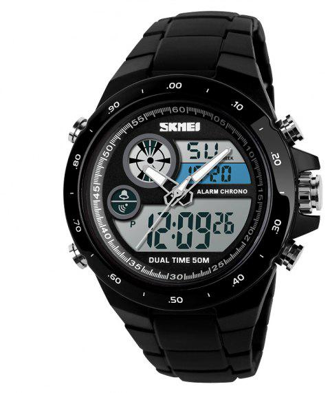 Men Movement Trend Outdoor Multi Function Dual Timing Stopwatch Electronic Watch - BLACK