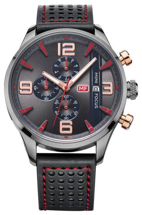 MINI FOCUS Men Chronograph Leather Casual Quartz Military Sport Wrist Watch - multicolor B