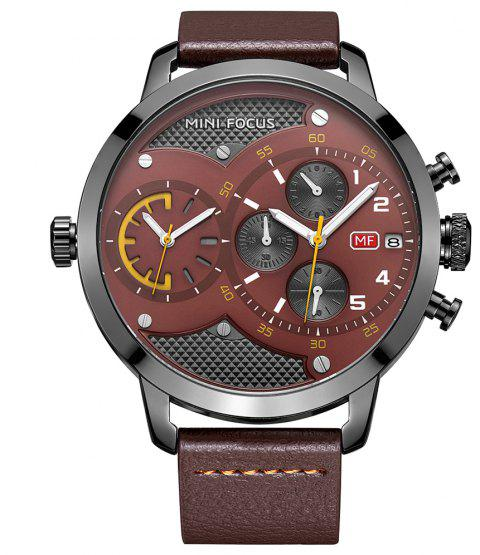 MINI FOCUS Dual Time Chronograph Men's Quartz Sports Analog Wrist Watch - BROWN