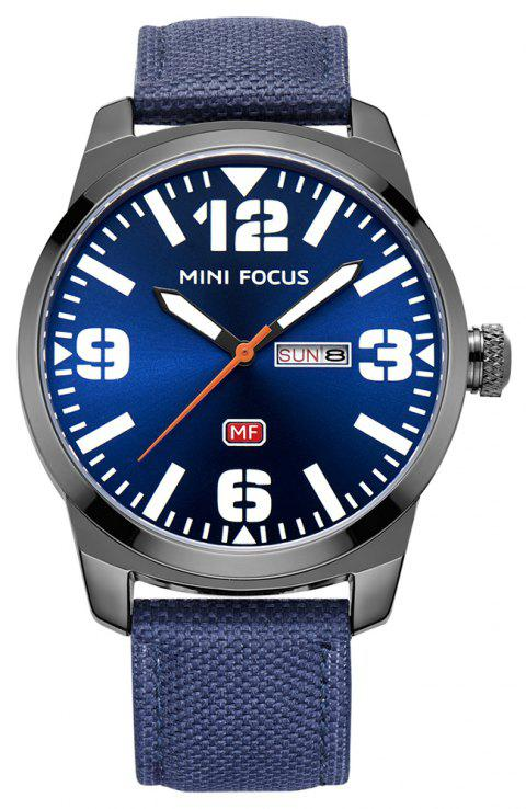 MINI FOCUS Men's Quartz Analog Date Day Clock Sports Nylon Strap Wrist Watch - BLUE