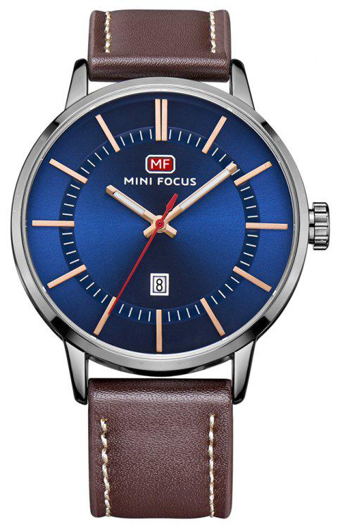 MINI FOCUS Men's Brand Luxury Analog Date Casual Leather Quartz Sports Watches - BLUE