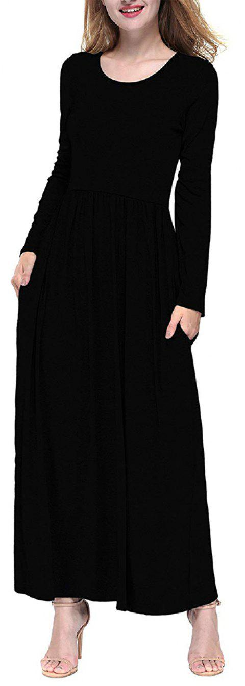 Women Round Neck Solid Color Autumn Long Sleeve High Waist Maxi Dress - BLACK L