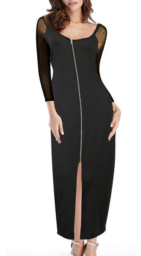 Women's Solid Color Mesh Long Sleeve Patchwork  Zipper Split Sexy Maxi Dress - BLACK 2XL