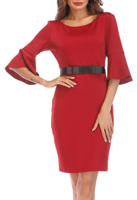 Women's Solid Color Half Flare Sleeve Back V Hollow out Slim Waist Belt Dress - RED M