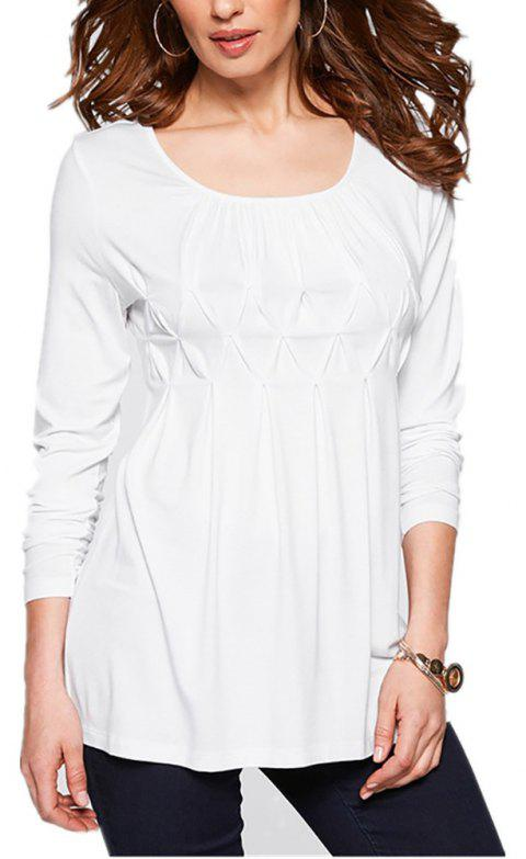 Women Wild Solid Color Round Neck Fat Long Sleeve Wrinkle Plus Size T-shirt - WHITE XL