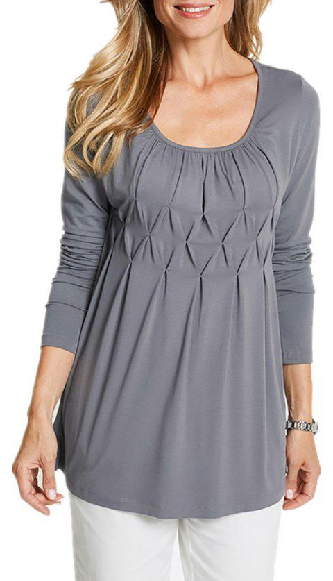 Women Wild Solid Color Round Neck Fat Long Sleeve Wrinkle Plus Size T-shirt - LIGHT GRAY 3XL