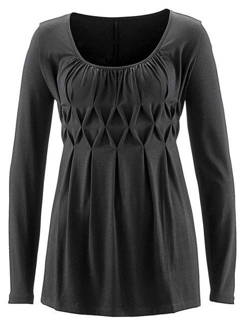 Women Wild Solid Color Round Neck Fat Long Sleeve Wrinkle Plus Size T-shirt - CARBON GRAY 5XL