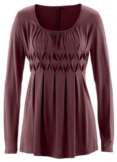 Women Wild Solid Color Round Neck Fat Long Sleeve Wrinkle Plus Size T-shirt - RED WINE 2XL