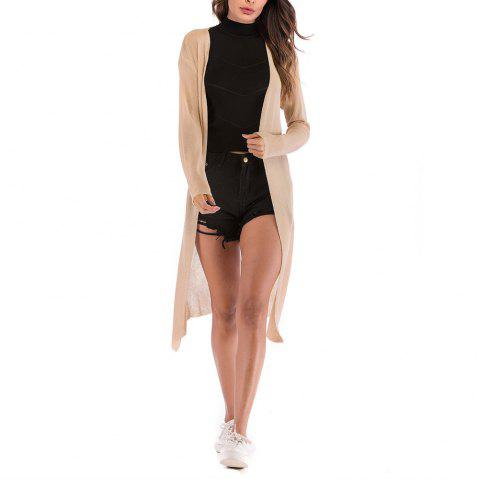 Women's Solid Color Knitted Cardigan Long Sleeve Coat Knitwear - APRICOT L
