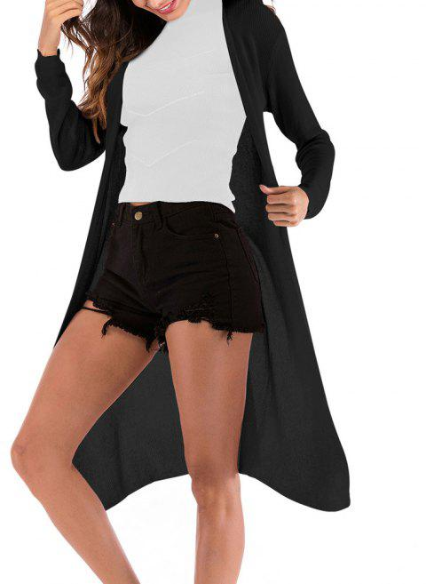 Women's Solid Color Knitted Cardigan Long Sleeve Coat Knitwear - BLACK XL