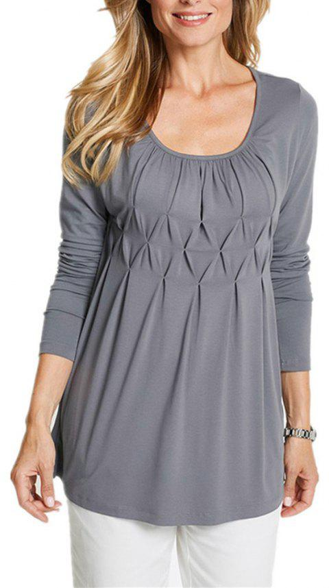Women's Wild Solid Color Wrinkle Plus Size Long Sleeve Pullover T-shirt - LIGHT GRAY XL
