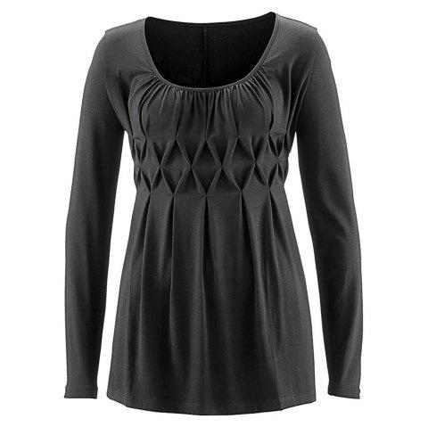 Women's Wild Solid Color Wrinkle Plus Size Long Sleeve Pullover T-shirt - CARBON GRAY 2XL