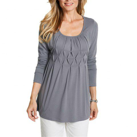 Women's Wild Solid Color Wrinkle Plus Size Long Sleeve Pullover T-shirt - LIGHT GRAY 2XL